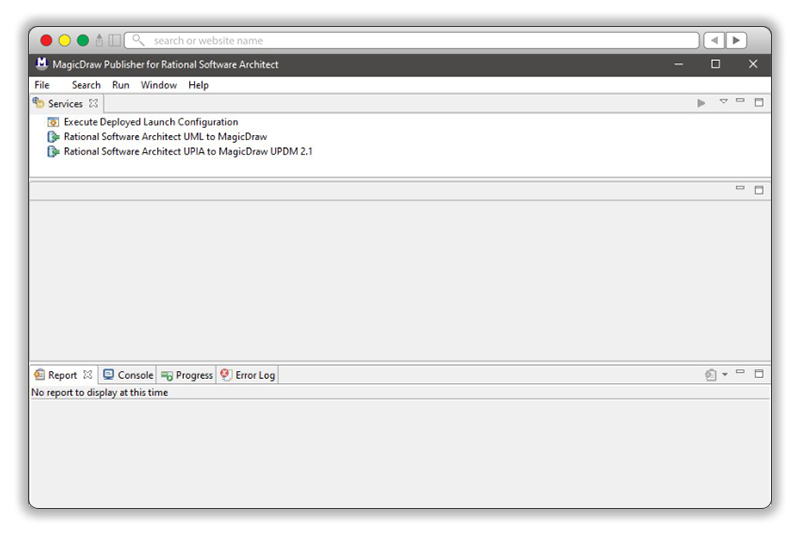Screenshot showing the MagicDraw Publisher for RSA UPIA add-on that enables support for RSA's UPIA profile.